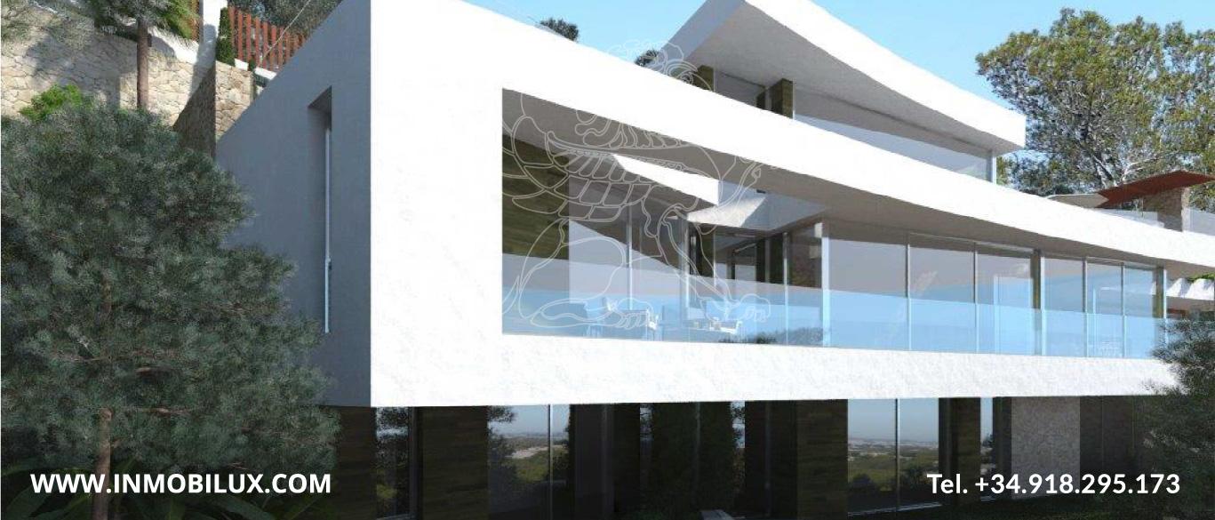 fachada villa de lujo con vista al mar