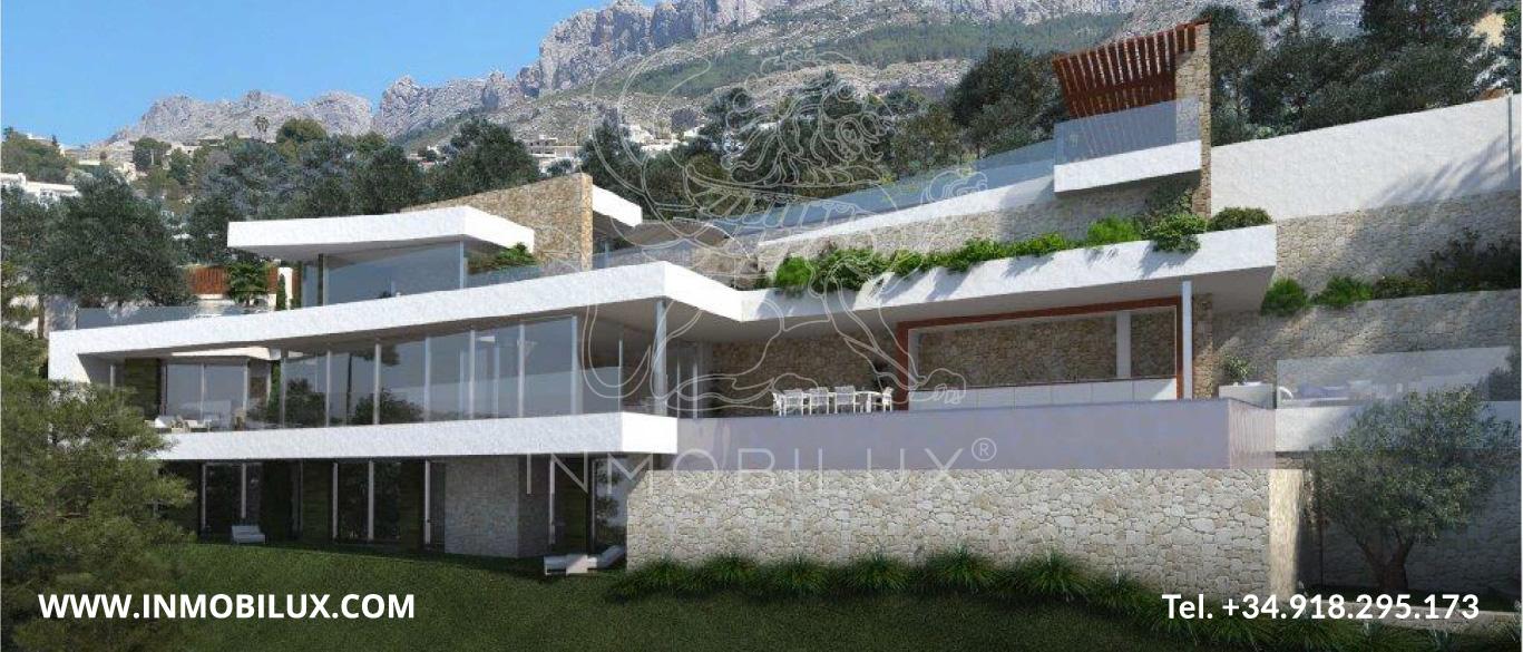 vista panorámica villa de lujo con vista al mar