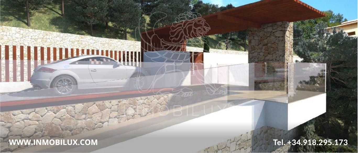 acceso vehicular villa de lujo con vista al mar